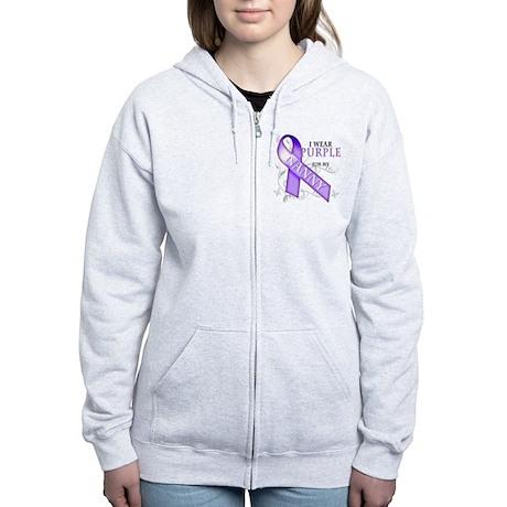 I Wear Purple for My Nanny Women's Zip Hoodie