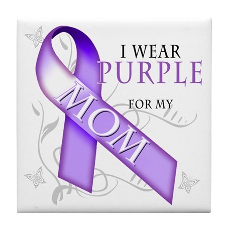 I Wear Purple for My Mom Tile Coaster