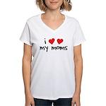 I Love My Moms Women's V-Neck T-Shirt