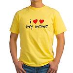I Love My Moms Yellow T-Shirt