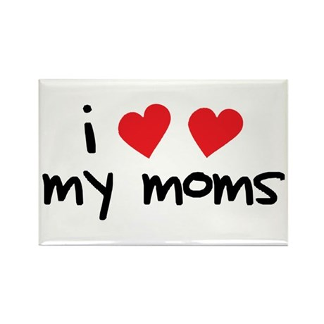 I Love My Moms Rectangle Magnet (100 pack)