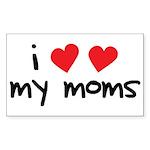 I Love My Moms Rectangle Sticker 50 pk)