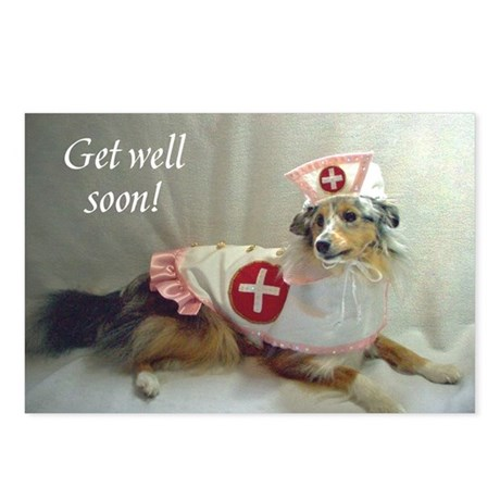 Gell Well Soon Sheltie Postcards Package Of  By Tricolorcal