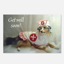 Gell Well Soon Sheltie Postcards (Package of 8)