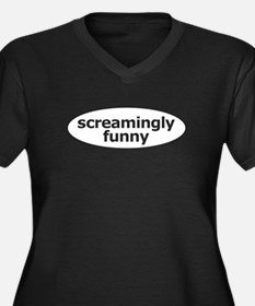 Screamingly Funny Women's Plus Size V-Neck Dark T-