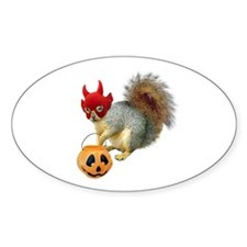 Trick or Treat Squirrel Oval Decal