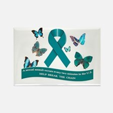 Cute Domestic violence sexual assault ribbon Rectangle Magnet