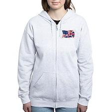 US UK Flag Zip Hoodie