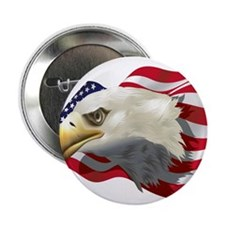 "American Flag with Bald Eagle 2.25"" Button"