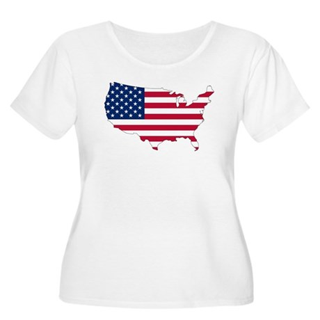 Stars and Stripes Map Women's Plus Size Scoop Neck