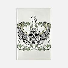 13 Hour Skull Clock Rectangle Magnet (10 pack)