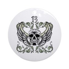 13 Hour Skull Clock Ornament (Round)