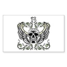13 Hour Skull Clock Rectangle Decal