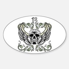 13 Hour Skull Clock Oval Decal