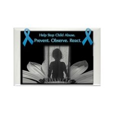 Cute Blue ribbon stop child abuse Rectangle Magnet (10 pack)