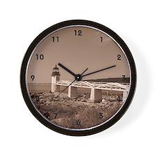 Marshall Point Sepia Tone Lighthouse Clock