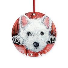 Westie Puppy Love Ornament (Round)