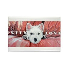 Westie Puppy Love Rectangle Magnet