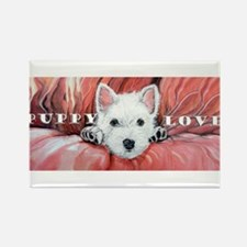Westie Puppy Love Rectangle Magnet