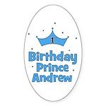 1st Birthday Prince Andrew! Oval Sticker