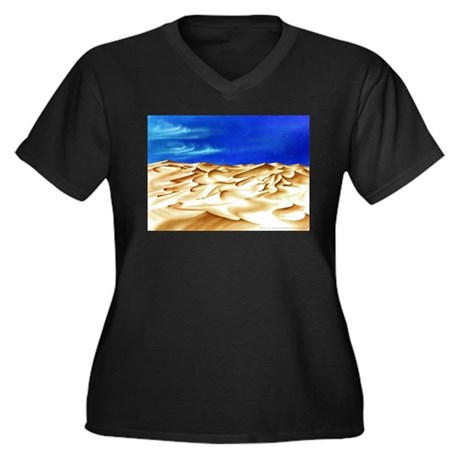 Springtan Women's Plus Size V-Neck Dark T-Shirt