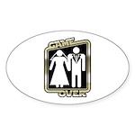 Retro Game Over Oval Sticker (10 pk)
