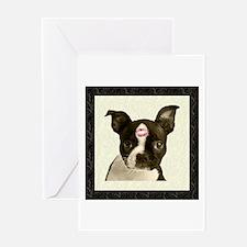 Boston Terrier Kiss Greeting Card