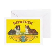 Nip & Tuck Collie Dogs Vintage Art Greeting Ca