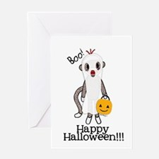 Sock Monkey Halloween Ghost Greeting Cards