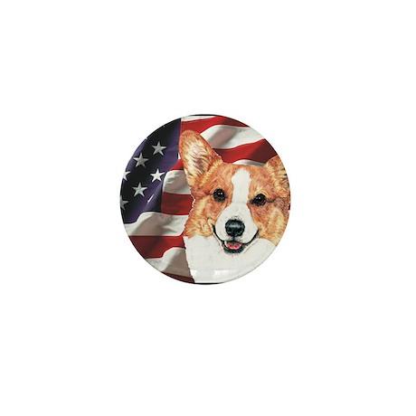 Pembroke Welsh Corgi USA Flag Mini Button