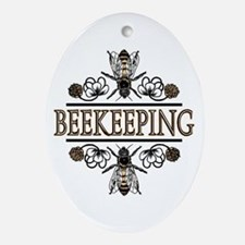 Bees With Clover Oval Ornament