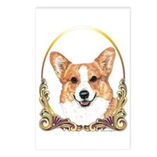 Welsh Corgi Christmas Gold Postcards Package of 8)