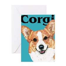 Pembroke Welsh Corgi Blue Pop Art Greeting Card