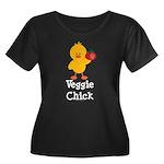 Veggie Chick Women's Plus Size Scoop Neck Dark T-S
