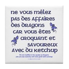 Affairs of French Dragons Tile Coaster