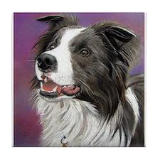Pastel Painting of Border Collie Dog Tile Coaster