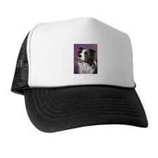 Pastel Painting of Border Collie Dog Trucker Hat