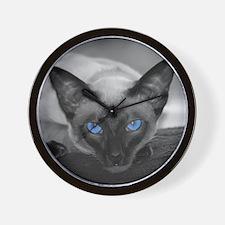 Siamese Cat B&W Photo Art Wall Clock