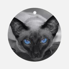 Siamese Cat B&W Photo Art Ornament (Round)
