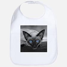 Siamese Cat B&W Photo Art Bib