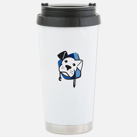 BW Logo Color Stripped Stainless Steel Travel Mug