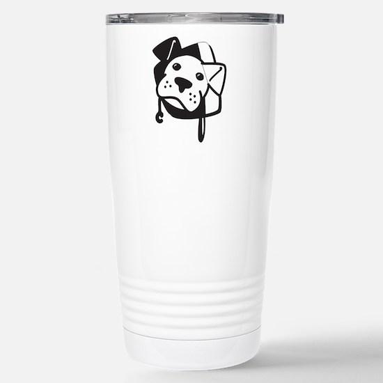 BW Logo Stripped Stainless Steel Travel Mug