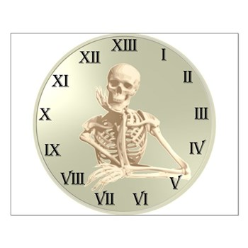 13 Hour Skeleton clock Small Poster