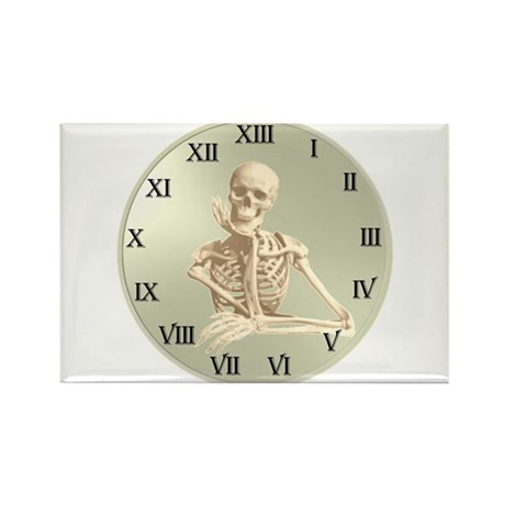 13 Hour Skeleton clock Rectangle Magnet (100 pack)