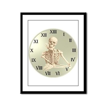 13 Hour Skeleton clock Framed Panel Print
