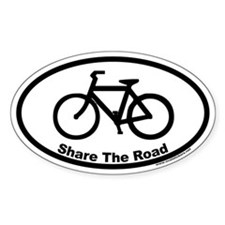 Share The Road Euro Oval Sticker with Bike