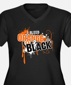Orange & Black Women's Plus Size V-Neck Dark T-Shi
