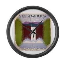 National Park Waterfall Large Wall Clock