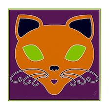Orange Retro Halloween Cat Tile Coaster