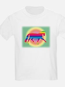 dressage trot rainbow Kids T-Shirt